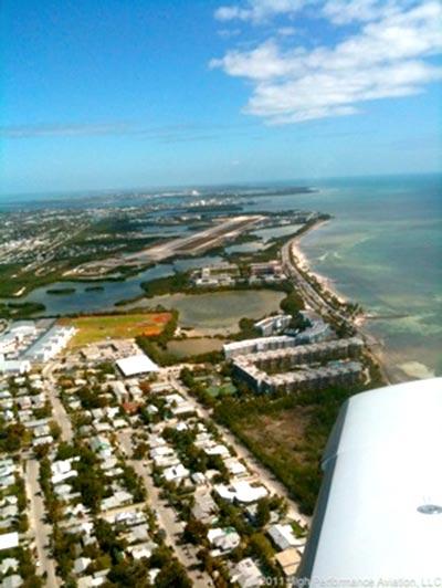 Columbia 400 Flying Over Key West